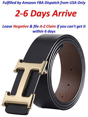 Designer Buckle (Fashion Designer Gold H Buckle Unisex Belt for Men or Women {3.8cm Belt Width} (120cm (Waist 36