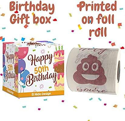 Novelty Bday Present for Friends Family 50th Birthday Gifts for Men and Women Her Funny Gag Gifts Happy Prank Toilet Paper Party Supplies Favors Ideas 50th Birthday Decorations for Him