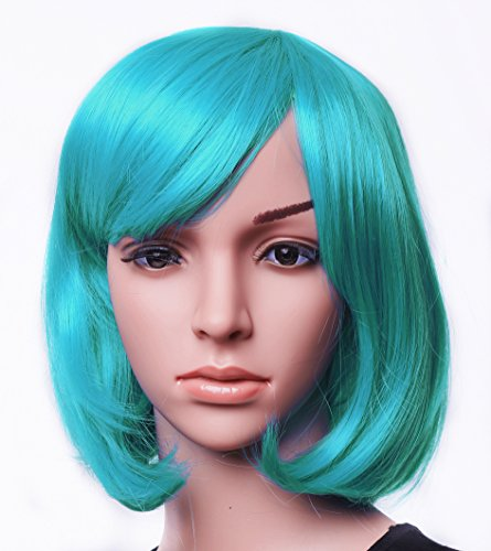 "SWACC 11"" Women Short Straight Synthetic Bob Wig Candy color Cosplay Wig Anime Costume hairpiece for Party with Wig Cap (Color Wig)"