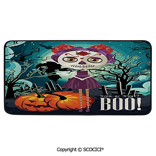 Soft Long Rug Rectangular Area mat for Bedroom Baby Room Decor Round Playhouse Carpet,Halloween,Cartoon Girl with Sugar Skull Makeup Retro Seasonal Artwork,39
