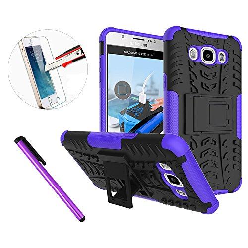 J710 Case, J7 2016 Case, ISADENSER Shockproof Hard Case with Stand for Samsung Galaxy J710 J7 2016 + 1pcs Tempered Glass Screen + 1pcs Stylus Pen (X Hyun Pattern Purple)