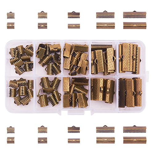PandaHall Elite About 100 Pcs Iron Ribbon Bracelet Bookmark Pinch Crimp Clamp End Findings Cord Ends Fasteners Clasp Leather Crimp Ends Length 8mm 10mm 13mm 20mm 25mm for Jewelry Making Antique Bronze ()