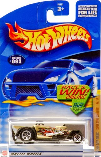 2001 - Mattel - Hot Wheels - Skin Deep Series 1 of 4 - Super Comp Dragster (Gold / Skulls & Flames Graphics) - Collector #093 - Race & Win (Dragster Front Wheels)