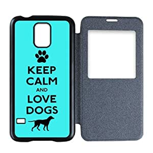 Generic Custom Extraordinary Best Design Keep Calm and Love Dogs Blue Plastic Back Flip Cover case for SamsungGalaxyS5