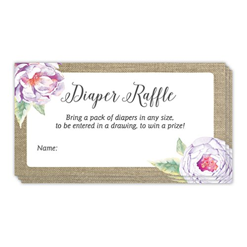 Baby Shower Diaper Raffle Game Tickets 48 Pack Guest Invitation Inserts Rustic Purple Floral Blank Name Tag Cards 3.5 x 2 Inches Gender Neutral Boy Girl Mommy to Be Party -