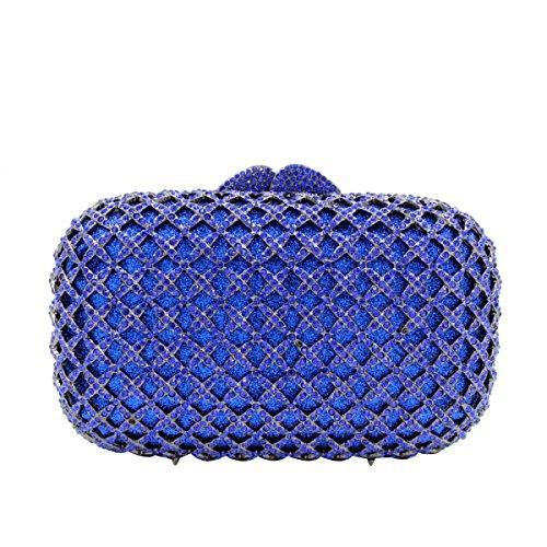 Bolso De Noche De Diamante De Lujo De Las Mujeres Embrague De Diamante De Gama Alta Blue