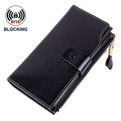VentoMarea Women's RFID Blocking Large Capacity Luxury Waxed Genuine Leather Clutch Wallet Multi Card Organizer Ladies Purse by VentoMarea (Image #1)