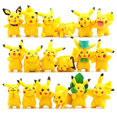 OliaDesign Pokemon Pikachu Action Figures Toy (Lot of 18 Piece), 1.8
