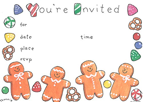Gingerbread House Party Invitations (Gingerbread Men Christmas Invitations, Fill-In Style, 8 Pack)