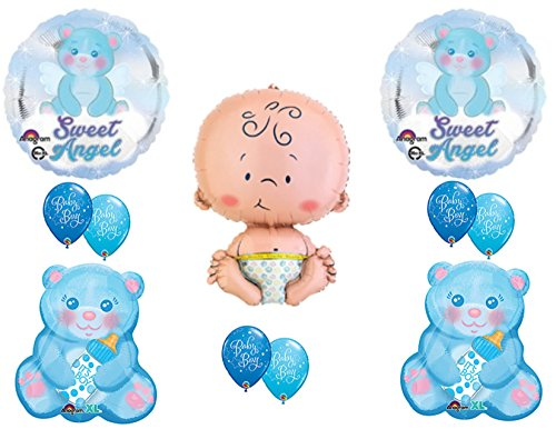 It's A Boy Sweet Angel Teddy Bear Baby Shower Balloons Decoration Supplies - Kids Polka Dot Bear