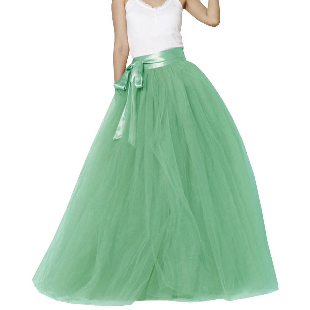 Women's A-line Maxi Floor Length Tulle Bridal Sash Skirt WDPL-082