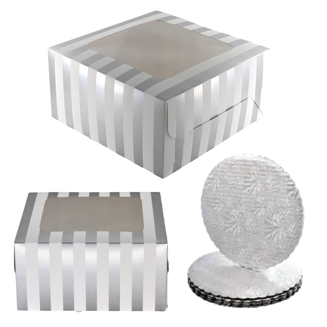 10x10x5 Cake Boxes with Cake Boards -Shiny Silver Foil Striped Bakery Boxes with Window 20 Piece Set (10 Boxes & 10 Cake Boards) 10x10x5 Bakery Box with Window, Disposable Cake Containers