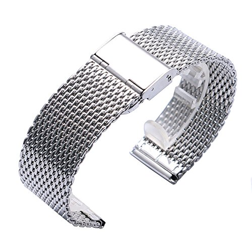 YISUYA 20mm Solid Milanese Mesh Stainless Steel Strap with Hook Buckle Classic Polished Silver Watch Band Straps 2.0cm by YISUYA (Image #2)