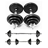 PROIRON 20kg Cast Iron Adjustable Dumbbell Set Hand Weight with Solid Dumbbell Handles Changed into...