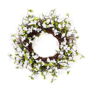 "White Dogwood Floral Twig Wreath, 24"" Diameter. 53"