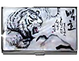 White Tiger Business Credit Card Case Id Holder Metal Travel Wallet Mother of Pearl