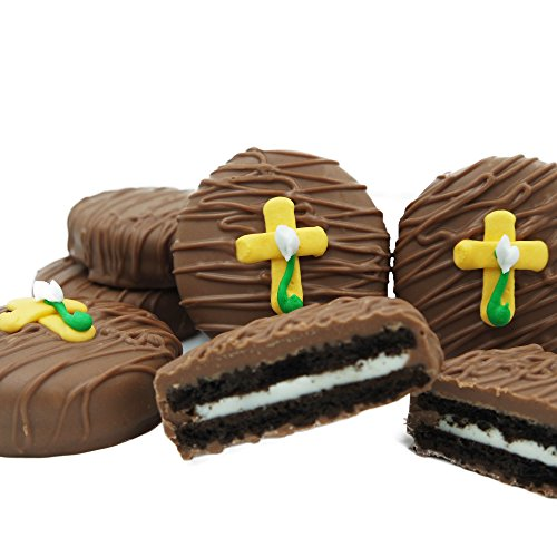 Philadelphia Candies Milk Chocolate Covered OREO Cookies, Easter Cross with Flower Gift Net Wt 8 oz