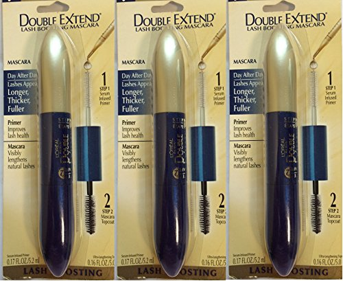 3 Pack - L'Oreal Paris Double Extend Lash Boosting Mascara, Black, 0.33 -Fluid Ounce