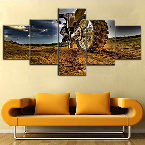 Sports Wall Decor Car Supercross Pictures for Living Room World Superbike Championship Paintings 5 Piece Canvas Modern Artwork Home Decor Framed Gallery-wrapped Stretched Ready to Hang(50''Wx24''H) (Best Superbike In The World)