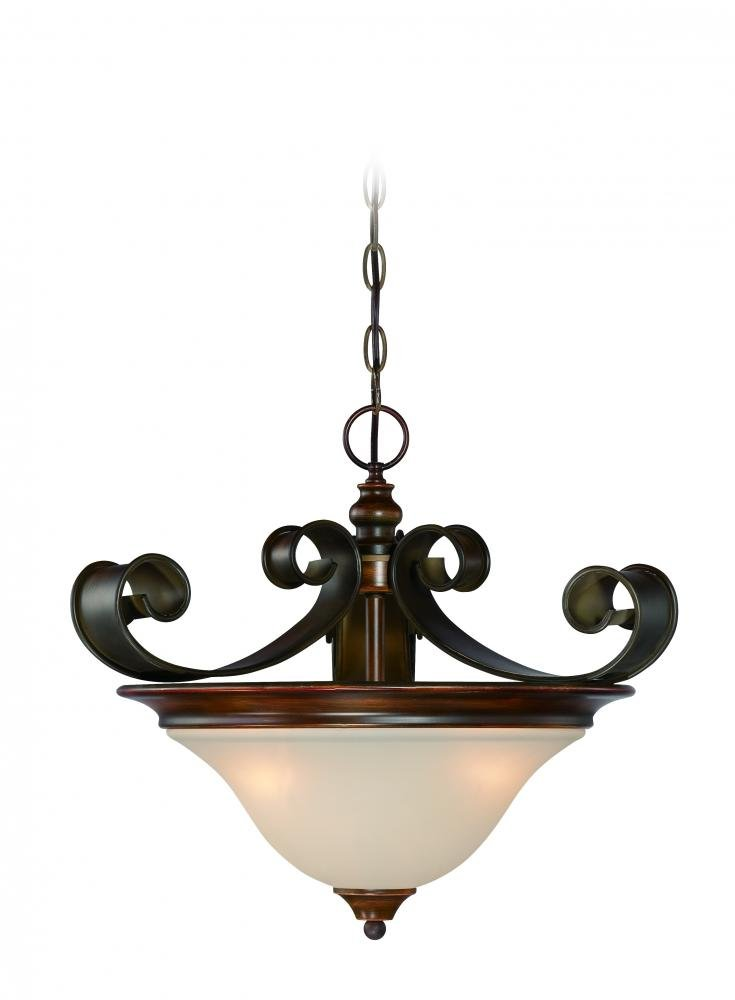 "Craftmade 28053-SPZ Seville Convertible Semi Flush/Pendant Lighting, 3-Light, 180 Watts, Spanish Bronze (18"" W x 16"" H)"