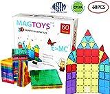 DreambuilderToy 60 Pieces Magnetic Tiles Clear 3D Building Blocks with 4 Large Playboards, STEM Magnetic Tiles Set