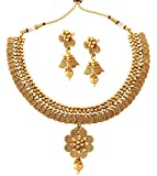 The JewelBox 22K Gold Plated Traditional necklace earring set
