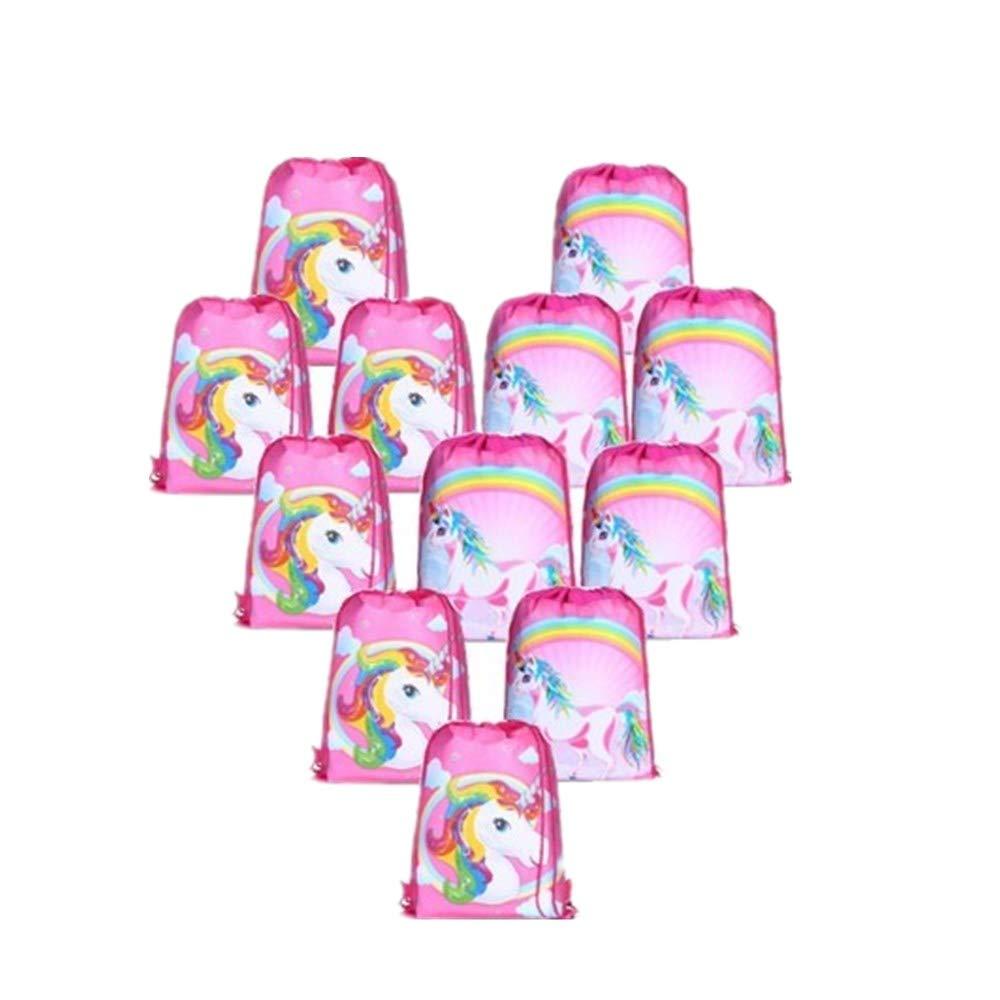 Borang 12 Pcs Unicorn Bags for Unicorn Party Supplies Drawstring Shoulder Backpack Bag Bulk