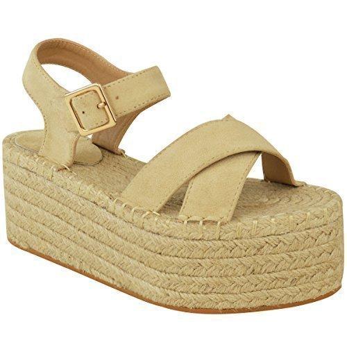 Mujer Plataforma Plana Alpargatas Con Cuña Y Altura A Tobillo Sandalias Verano Tiras Zapatos Talla - sintético, Carne - Ante Artificial, Mujer, ...