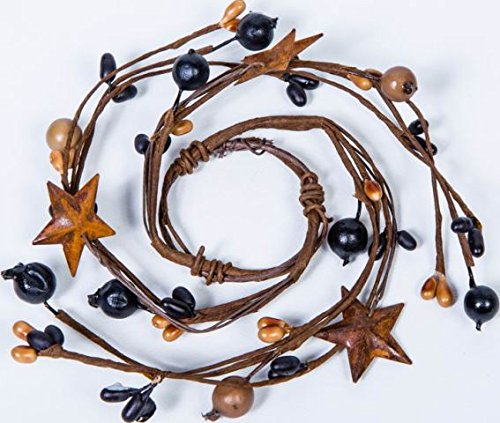 Tan Berry (Set of 6 Hand Wrapped Black and Tan Mixed Berry Mini Candle Rings with Rusty Stars)