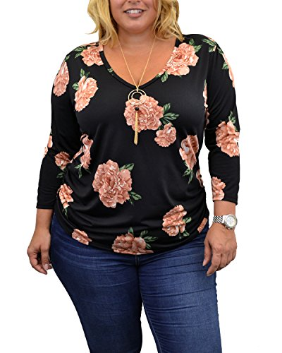 Urban Rose Womens Plus-Size Top with 3/4 Sleeve, V-Neck, Side Ruching & Necklace, Black Floral Print, 2X