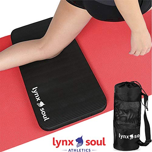 LYNXSOUL Premium Quality Knee and Elbow Mini Mat with Carry On Bag - Extra Cushion That Complements Your Full-Size Yoga Mat - Ideal for Pilates, Planks or Gardening. ()