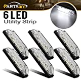 Partsam 6X 4 Marine/Boat Slim Line Clear/White LED Utility Strip Light 6 Diodes Sealed