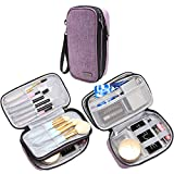 Teamoy Travel Makeup Brush Bag(up to 8.5''), Professional Cosmetic Artist Organizer Case with Handle Strap for Makeup Brushes and Beauty Supplies-Small, Purple (No Accessories Included)