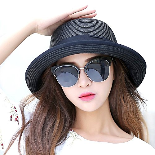 Promini Women Foldable Wide Brim Roll-up Straw Hat Beach Sun Cap for Holiday Travel