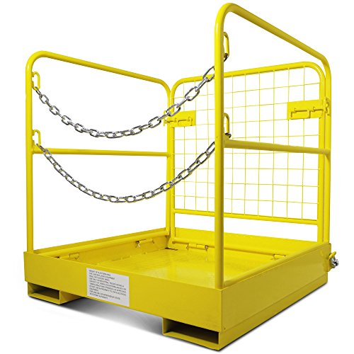 Forklift Safety Cage Work Platform Collapsible Lift Basket Aerial Rails 36''x36'' by Titan Attachments