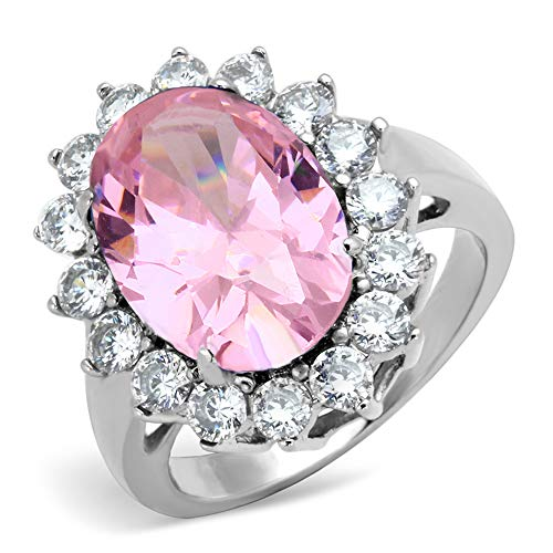 Vip Jewelry Co Women's Halo Pink Rose AAA CZ Stainless Steel Engagement Fashion Ring Size 5-10 (7)