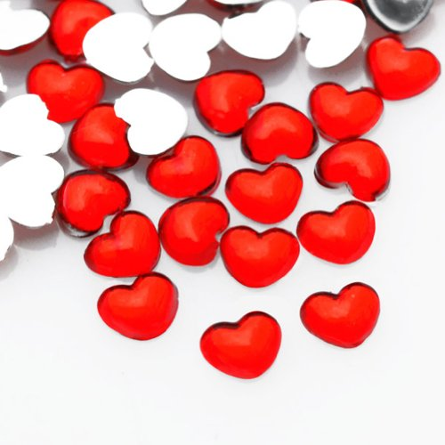 Ajetex 1000pcs Light Siam Heart 2x2.5x1 Flat Back Rhinestones Flatback acrylic Gems for Nail Art Cards wholesale AF0005-7