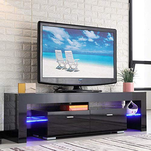 Cabinet Modern Glass (TV Stand Elegant Black High Gloss LED Light Glass Shelves TV Cabinet Modern TV Table 2 Drawers Console Durable Entertainment Center Black 63