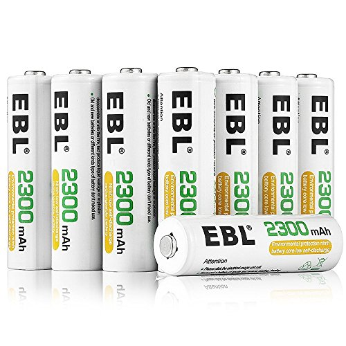 EBL Pack of 12 AA Rechargeable Batteries 2300mAh, Household Ni-MH AA...