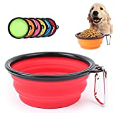 6 Pack Foldable Pet Bowl, Food Grade Silicone BPA Free Travel Bowls with Carabiner Foldable Expandable Cup Dish for Pet Cat Food Water Feeding