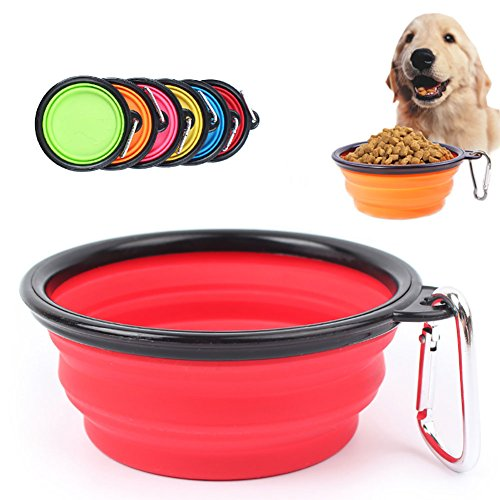 6 Pack Foldable Pet Bowl, Food Grade Silicone BPA Free Travel Bowls with Carabiner Foldable Expandable Cup Dish for Pet Cat Food Water Feeding by USAXRD MALL