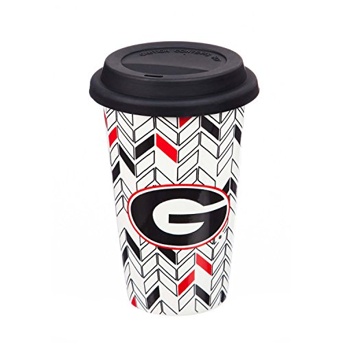 University of Georgia Personalizable Ceramic Travel Coffee Mug, 10 ounces, with Team Color Markers (Georgia Bulldogs Ceramic)