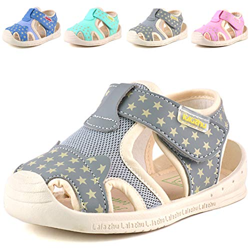 Moceen Kids Soft Microfiber Leather Sandals Light-Up Toddler Boys/Girls Closed Toe Pre School Shoes,Grey,8102 130 -