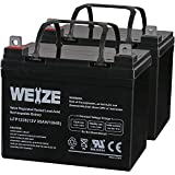 Weize 12V 35AH Deep Cycle Battery for Scooter Pride Mobility Jazzy Select Electric Wheelchair - 2 Pack in Series 24V