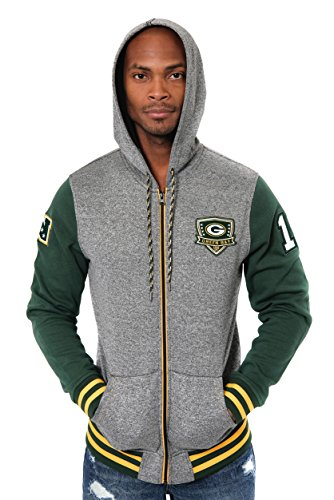 ICER Brands Adult Men Full Zip Fleece Hoodie Letterman Varsity Jacket, Team Color, Green, X-Large