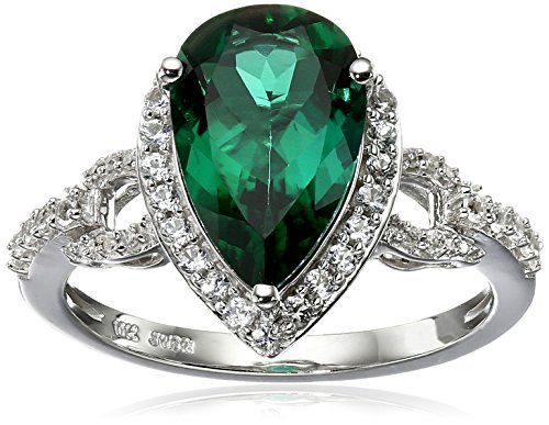 Emerald 10k Ring - 10K White Gold Created Emerald with Created White Sapphire Teardrop Ring, Size 7