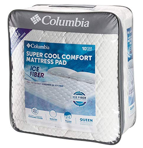 Columbia Sportswear Company Quilted Ice Fiber Cooling Mattress Pad - Deep Pocket Fitted Sheet Cover Stretches to fit 16