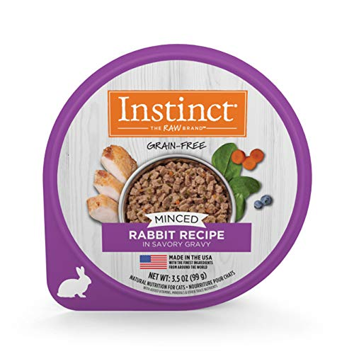 Instinct Grain Free Minced Recipe with Real Rabbit Natural Wet Cat Food by Nature's Variety, 3.5 oz. Cups (Case of - Rabbit Food Original