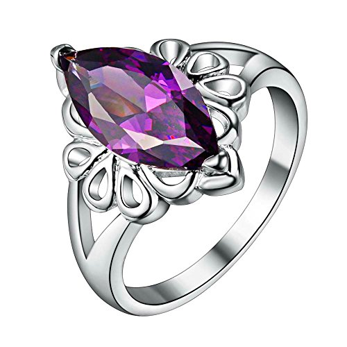 Onefeart Sterling Silver Ring for Girls Women Purple Crystal Hollow Lace Propose Ring Size 7