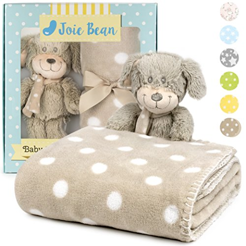 Premium Baby Blanket Set with Stuffed Animal Plush Toy | Soft Fleece Security Throw Blanket for Baby, Newborn, and Toddler | Nursery Bedding and Baby Shower Gift (Brown - Dog)